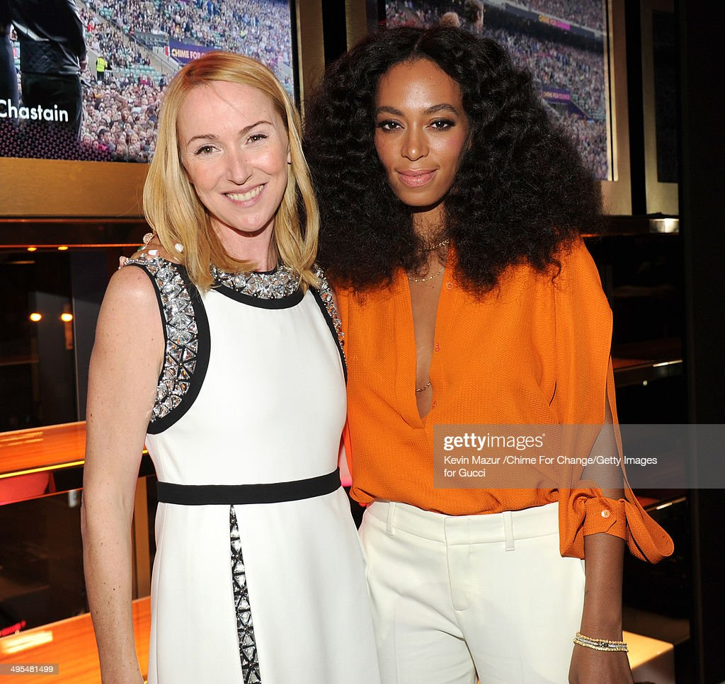 Gucci Creative Director Frida Giannini and Solange attend the CHIME FOR CHANGE One-Year Anniversary Event hosted by Gucci Creative Director Frida Giannini and T Magazine Editor-In-Chief Deborah Needleman at Gucci Fifth Avenue on June 3, 2014 in New York City.
