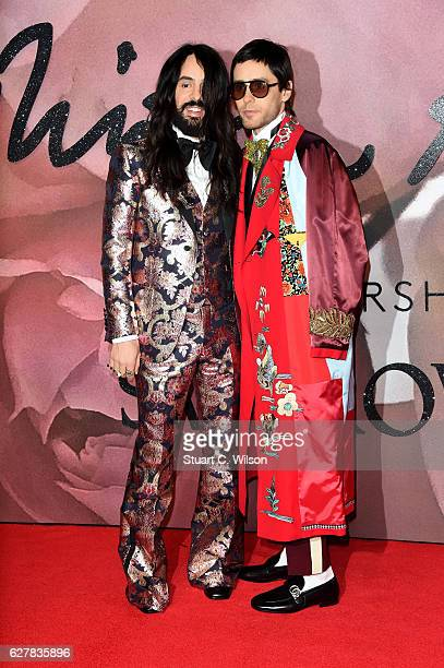 Gucci designer Alessandro Michele and actor Jared Leto attend The Fashion Awards 2016 on December 5 2016 in London United Kingdom