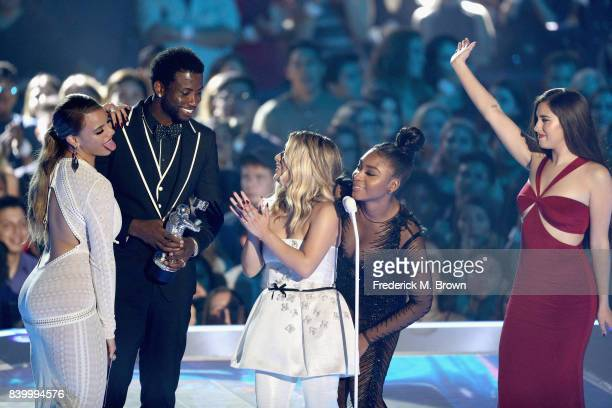 Gucci Mane and Dinah Jane Ally Brooke Normani Kordei and Lauren Jauregui of music group Fifth Harmony accept the Best Pop Video award for 'Down'...