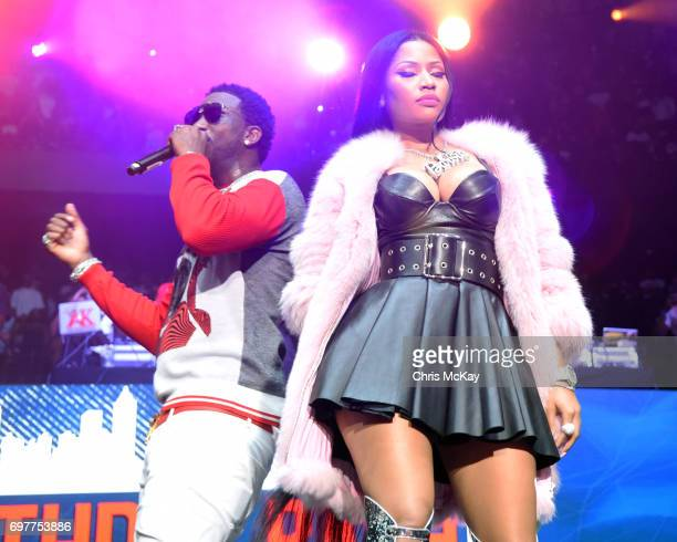 Gucci Mane and Nicki Minaj perform during the Hot 1079 Birthday Bash at Philips Arena on June 17 2017 in Atlanta Georgia