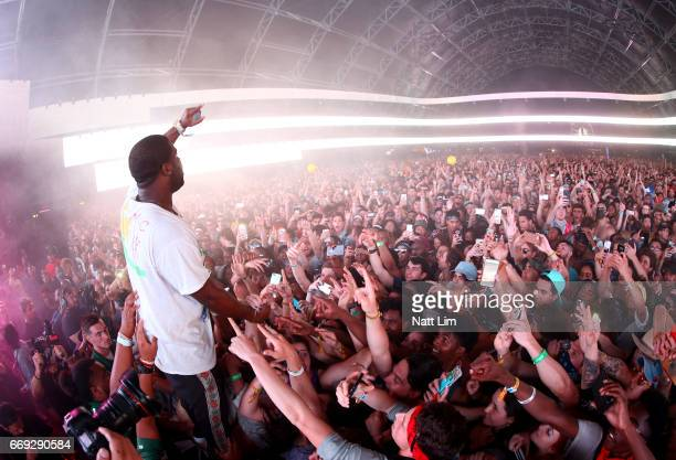 Gucci Mane performs in the Sahara Tent during day 3 of the Coachella Valley Music And Arts Festival at the Empire Polo Club on April 16 2017 in Indio...