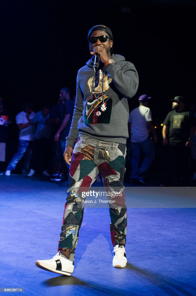 Gucci Mane performs on stage at Chene Park on August 20, 2017 in Detroit, Michigan.