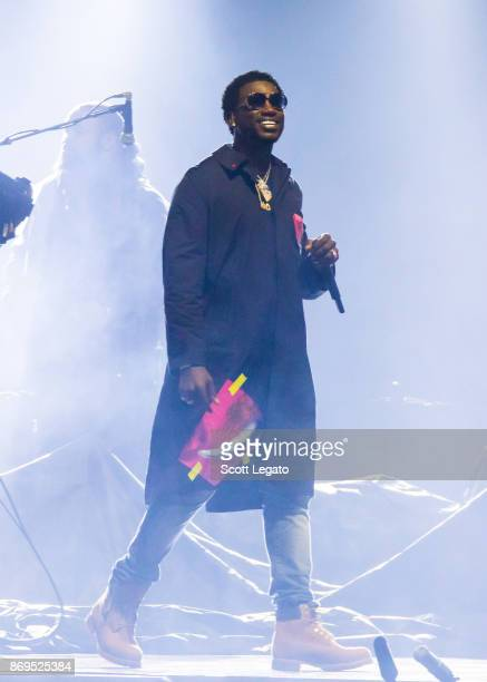 Gucci Mane performs on stage during 'The Weeknd Starboy Legend of the Fall 2017 World Tour' at Little Caesars Arena on November 1 2017 in Detroit...