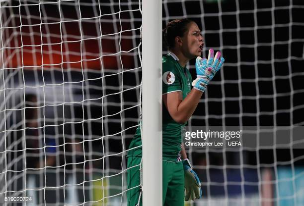 Gudbjorg Gunnarsdottir of Iceland shouts orders to her team mates during the UEFA Women's Euro 2017 Group C match between France and Iceland at...