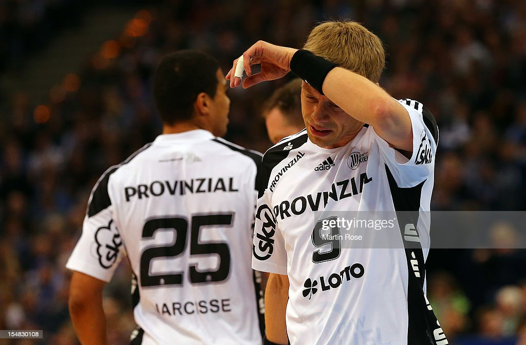 Gudjon Sigurdsson of Kiel reacts during the DKB Handball Bundesliga match between HSV Hamburg and THW Kiel at the O2 World on October 27, 2012 in Hamburg, Germany.