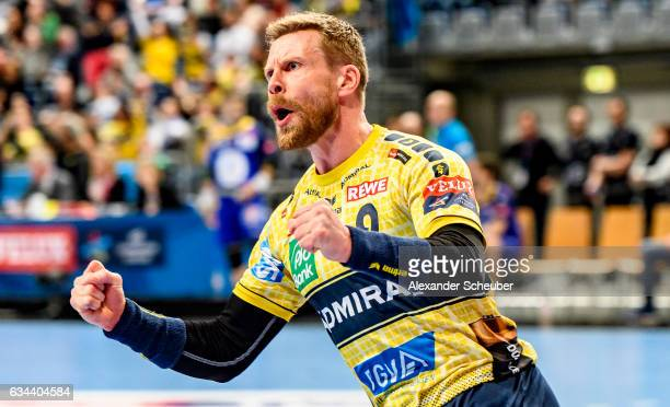 Gudjon Valur Sigurdsson of Rhein Neckar Loewen celebrates a goal during the EHF Men's Champions League Group Phase game between RheinNeckar Loewen...