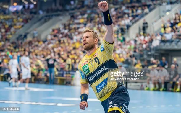 Gudjon Valur Sigurdsson of Rhein Neckar Loewen celebrates a goal during the DKB HBL match between Rhein Neckar Loewen and MT Melsungen at SAP Arena...