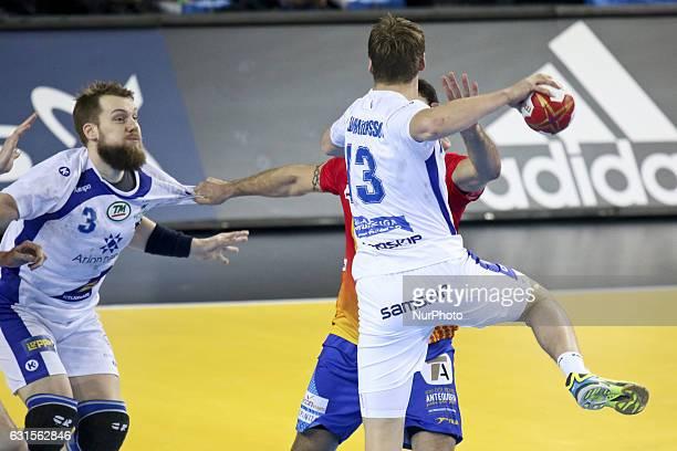 Gudmundsson Olafur Andres 13 and Kristjansson Kari 3 during the 25th IHF Men's World Championship 2017 Group B handball match Spain vs Iceland on...