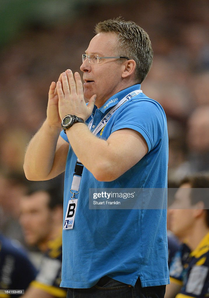 Gudmundur Gudmundsson, head coach of Rhein-Neckar reacts during the Toyota Bundesliga handball game between SG Flensburg-Handewitt and Rhein-Neckar Loewen at the Flens arena on March 20, 2013 in Flensburg, Germany.