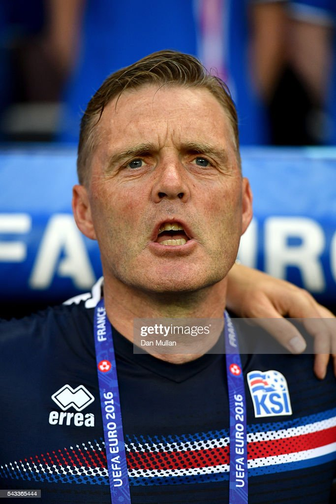 Gudmundur Hreidarsson Iceland coach looks on prior to the UEFA EURO 2016 round of 16 match between England and Iceland at Allianz Riviera Stadium on June 27, 2016 in Nice, France.