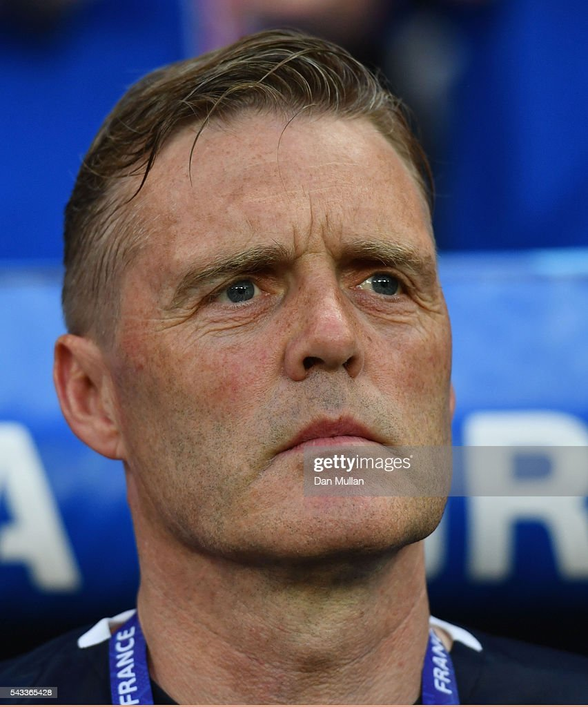 Gudmundur Hreidarsson looks on prior to the UEFA EURO 2016 round of 16 match between England and Iceland at Allianz Riviera Stadium on June 27, 2016 in Nice, France.