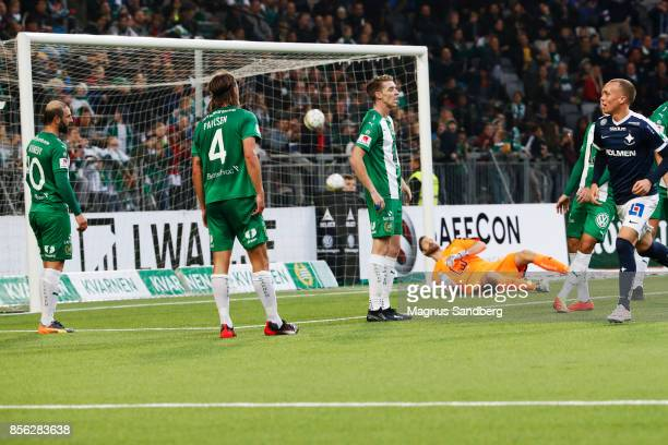 Gudmundur Thorarinsson celebrates after scoring 02 during the Allsvenskan match between Hammarby IF and IFK Norrkoping at Tele2 Arena on October 1...