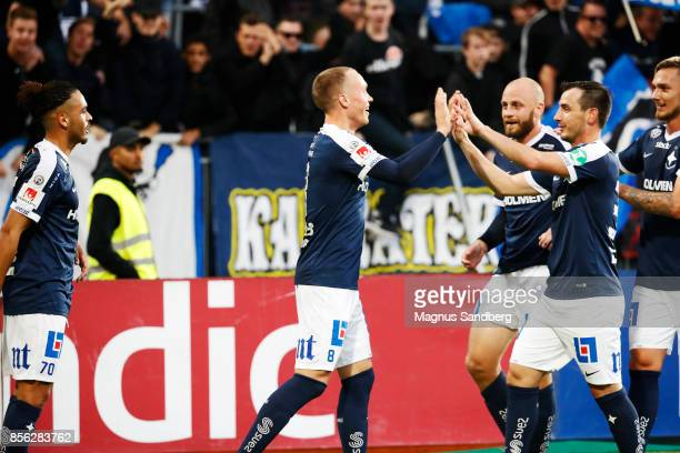Gudmundur Thorarinsson of IFK Norrkoping celebrates after scoring 02 during the Allsvenskan match between Hammarby IF and IFK Norrkoping at Tele2...