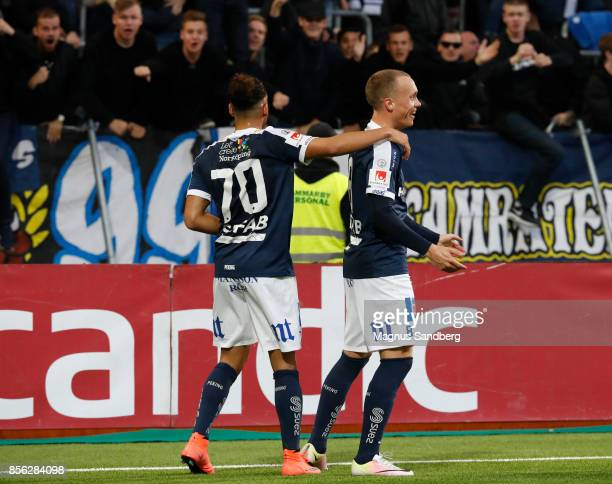 Gudmundur Thórarinsson of IFK Norrkoping celebrates after scoring 02 during the Allsvenskan match between Hammarby IF and IFK Norrkoping at Tele2...