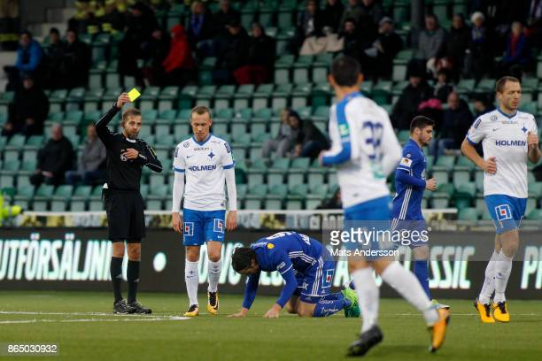 Gudmundur Thórarinsson of IFK Norrkoping is shown a yellow card during the Allsvenskan match between GIF Sundsvall and IFK Norrkoping at...