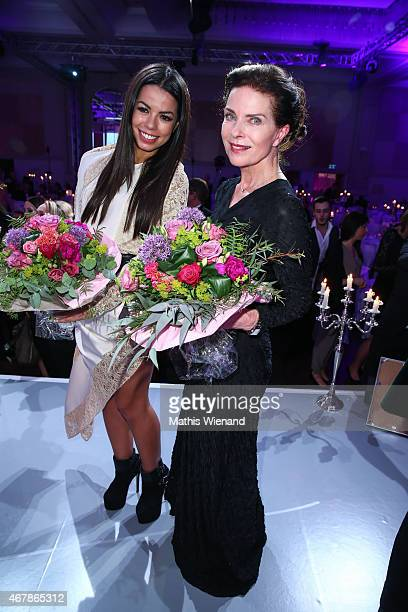 Gudrun Landgrebe and Fernanda Brandao attend the Gloria Deutscher Kosmetikpreis 2015 at Hilton Hotel on March 27 2015 in Duesseldorf Germany