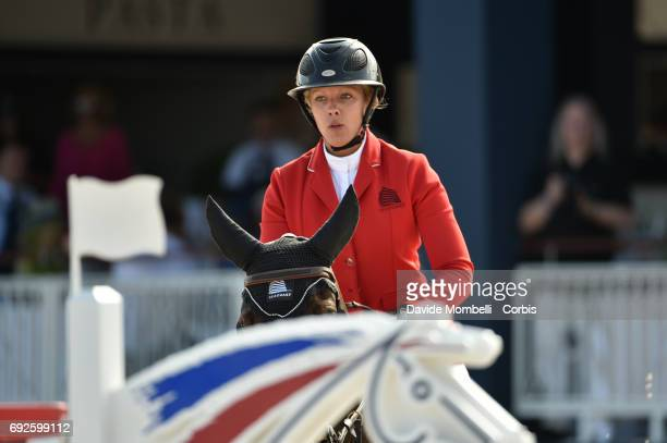 Gudrun Patteet of Belgium riding Sea Coast Pebbles Z during the Longines Grand Prix Athina Onassis Horse Show on June 3 2017 in St Tropez France