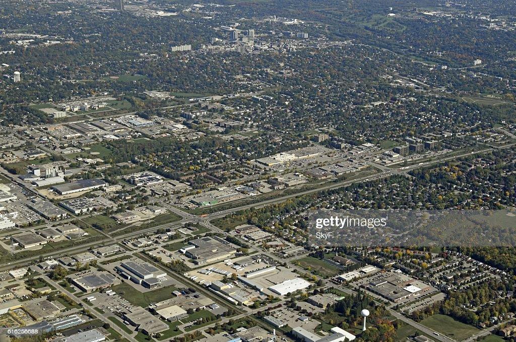 Guelph Ontario, aerial : Foto de stock