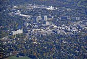 aerial view from the West towards downtown Guelph, Ontario Canada