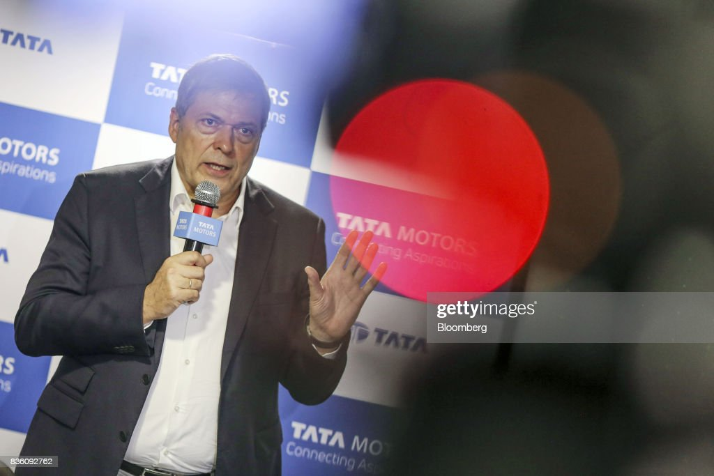 Guenter Butschek, chief executive officer of Tata Motors Ltd., speaks during a news conference in Mumbai, India, on Monday, Aug 21, 2017. Tata Motors has made an investment commitment of 25 billion rupees for future passenger vehicle programs, Butscheksaid. Photographer: Dhiraj Singh/Bloomberg via Getty Images
