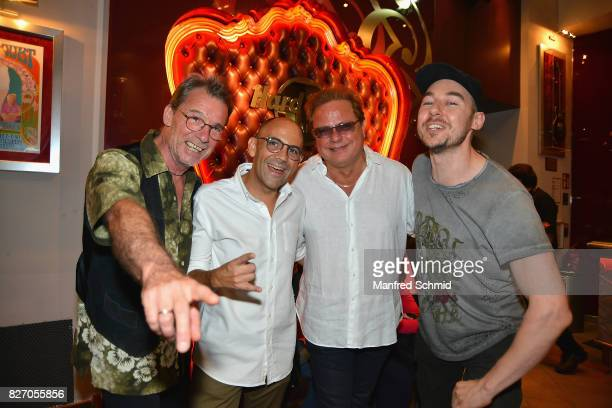 Guenter Grasmuck Joao Santos Da Cunha Ewald Pfleger of Opus and Tom Lohner attend the 3rd birthday party of the Hard Rock Cafe Vienna on August 6...