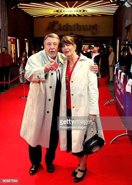 Guenter Lamprecht and Claudia Amm pose on the red carpet as they arrive for the premiere of the film 'Vision From The Life Of Hildegard Von Bingen'...
