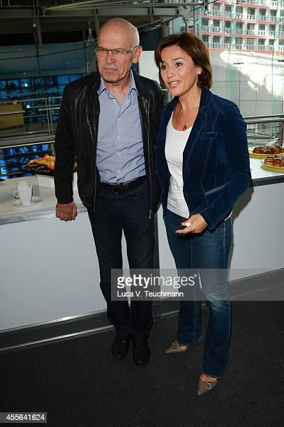 Guenter Wallraff and Sandra Maischberger attend Deutscher Fernsehpreis 2014 Nominations Announcement at Deutsche Kinemathek on September 18 2014 in...