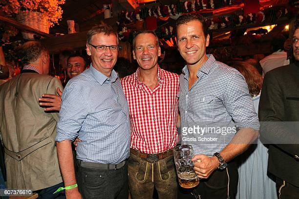Guenther Jauch Henry Maske and Oliver Bierhoff during the opening of the oktoberfest 2016 at the 'Kaeferschaenke' beer tent at Theresienwiese on...