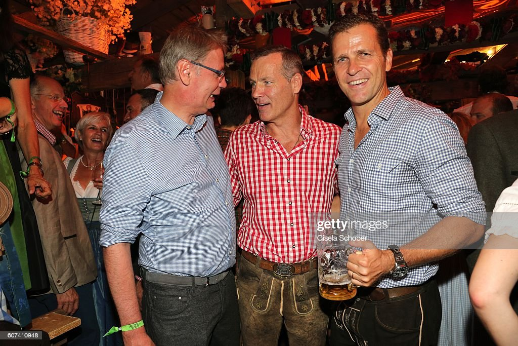 Guenther Jauch, Henry Maske and Oliver Bierhoff during the opening of the oktoberfest 2016 at the 'Kaeferschaenke' beer tent at Theresienwiese on September 17, 2016 in Munich, Germany.