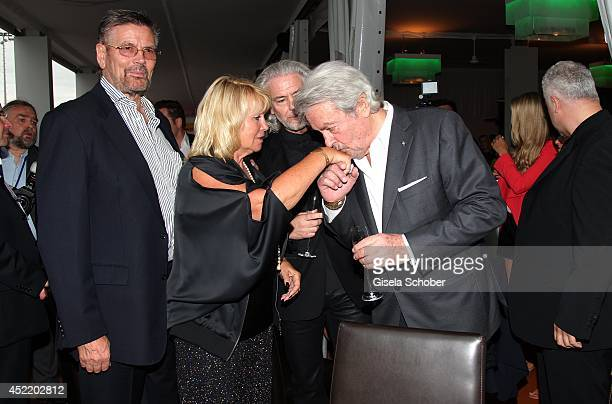 Guenther Klum and wife Erna parents of Heidi Klum CEO Lambertz Hermann Buehlbecker and his guest Alain Delonattend the CHIO 2014 media night on July...