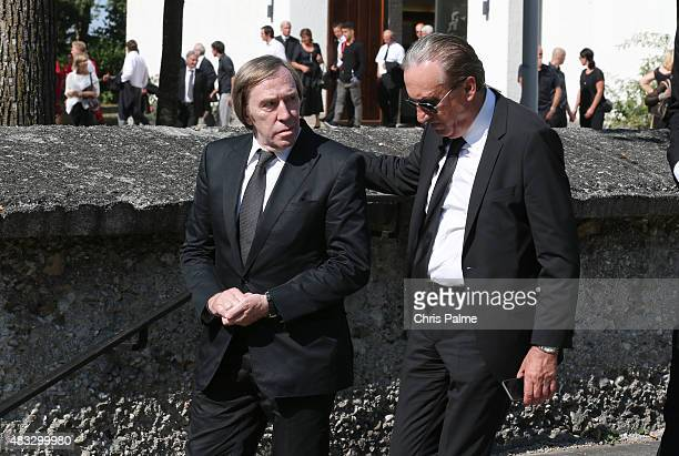Guenther Netzer Alfred Draxler during the memorial service for Stephan Beckenbauer at church 'St Heilige Familie' on August 7 2015 in Munich Germany...