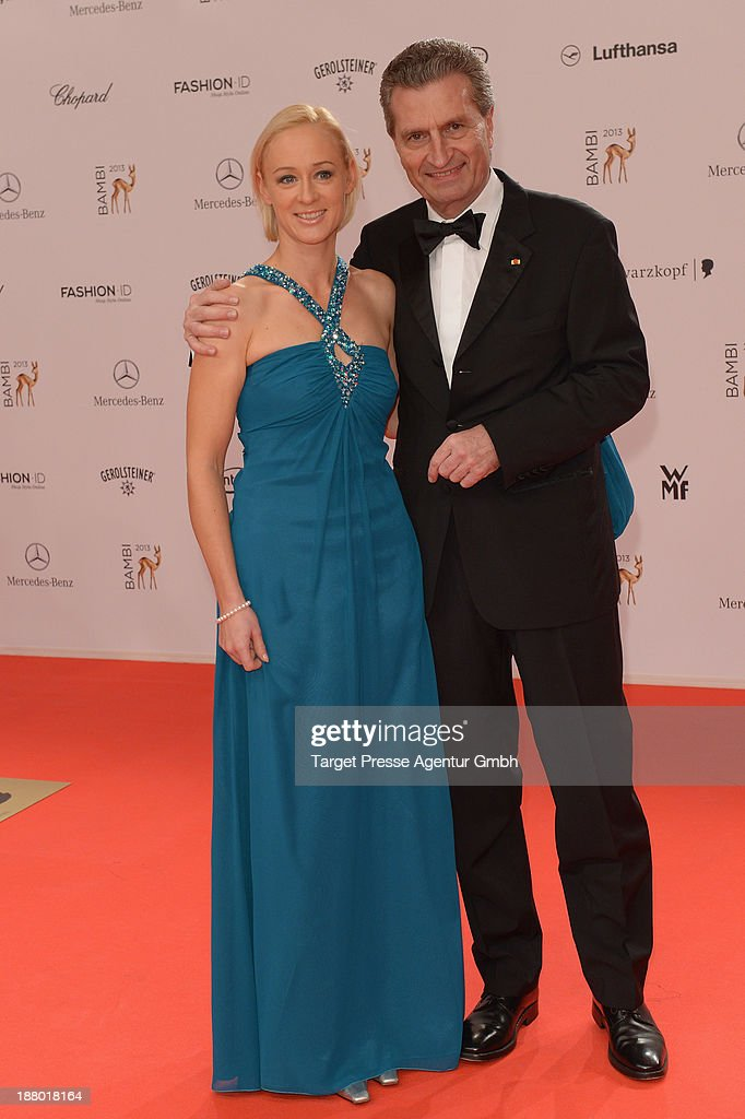 Guenther Oettinger and Friederike Beyer attend the Bambi Awards 2013 at Stage Theater on November 14, 2013 in Berlin, Germany.