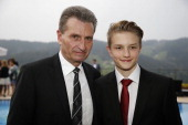 Guenther Oettinger and his son Alexander pose prior to the Spa Diamond Award 2013 on May 4 2013 in Bad PeterstalGriesbach Germany