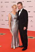 Guenther Oettinger and his wife Inken Oettinger attend Kryolan at the Bambi Awards 2014 on November 13 2014 in Berlin Germany