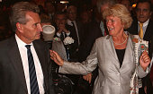 Guenther Oettinger and Monika Gruetters attend the VPRT summer reception on September 8 2015 in Berlin Germany