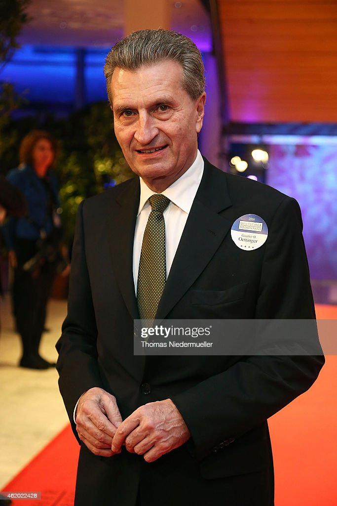 Guenther Oettinger arrives the red carpet during the German Media Award 2014 on January 23, 2015 in Baden-Baden, Germany.