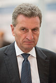 Guenther Oettinger attends the audience during the opening ceremony of Metropolitan Solutions at the Hannover Trade Fair on April 07 2014 in Hanover...