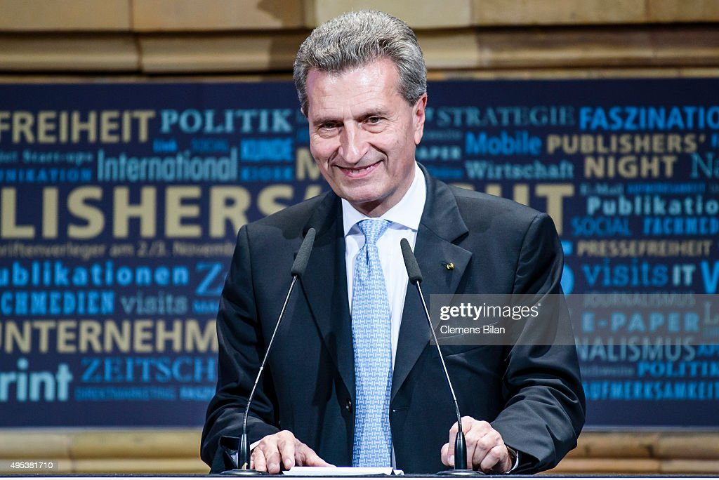 Guenther Oettinger attends the VDZ Publishers Night on November 2, 2015 in Berlin, Germany.