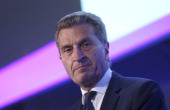 Guenther Oettinger energy commissioner for the European Union speaks during the annual EURELECTRIC conference in London UK on Tuesday June 3 2014 The...