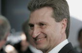 Guenther Oettinger Governor of the federal state of BadenWuerttemberg arrive for a trade conference at the Liederhalle on April 17 2007 in Stuttgart...