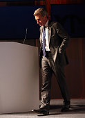 Guenther Oettinger leaves the stage after speaking during the VPRT summer reception on September 8 2015 in Berlin Germany