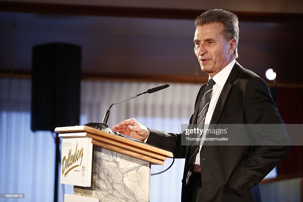 Guenther Oettinger speaks during the Spa Diamond Award 2013 on May 4, 2013 in Bad Peterstal-Griesbach, Germany.