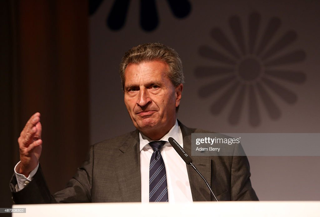 Guenther Oettinger speaks during the VPRT (Verband privater Rundfunk und Telemedien, or Association of Private Radio and Television Media) summer reception on September 8, 2015 in Berlin, Germany.