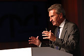 Guenther Oettinger speaks during the VPRT summer reception on September 8 2015 in Berlin Germany