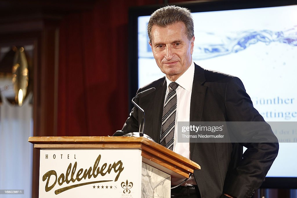 Guenther Oettinger talks during the Spa Diamond Award 2013 on May 4, 2013 in Bad Peterstal-Griesbach, Germany.