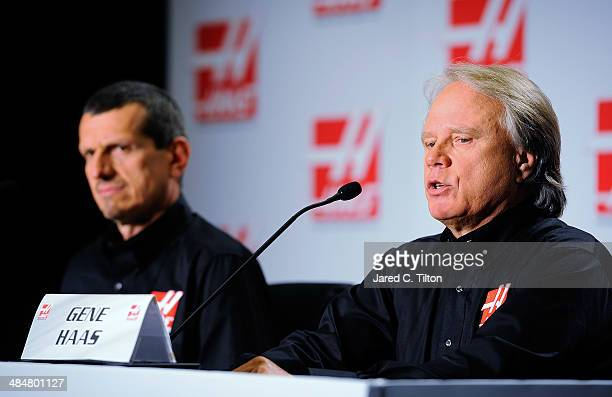 Guenther Steiner team principal of Haas Formula and Gene Haas founder Haas Automation and chairman Haas Formula speak with the media during the Gene...