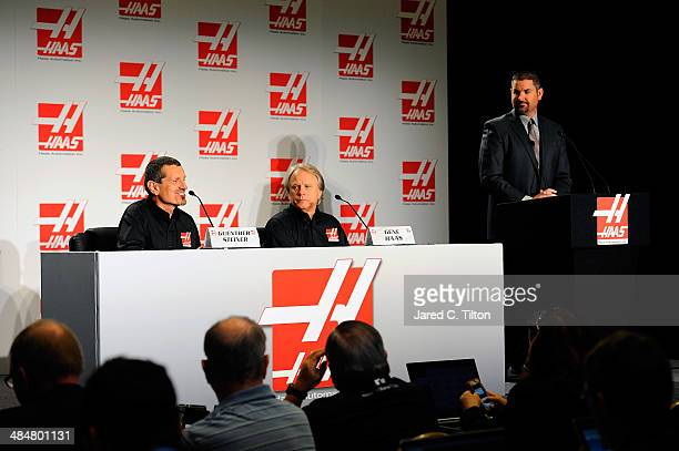 Guenther Steiner team principal of Haas Formula Gene Haas founder Haas Automation and chairman Haas Formula and Mike Arning True Speed Communications...