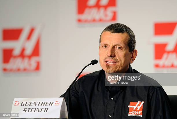 Guenther Steiner team principal of Haas Formulavspeaks with the media during the Gene Haas Formula One Press Conference at the Concord Convention...