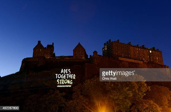 Guerilla style projection commissioned by psLIVE is displayed on Edinburgh Castle to mark the release of 'Dawn of The Planet of The Apes' on July 17...