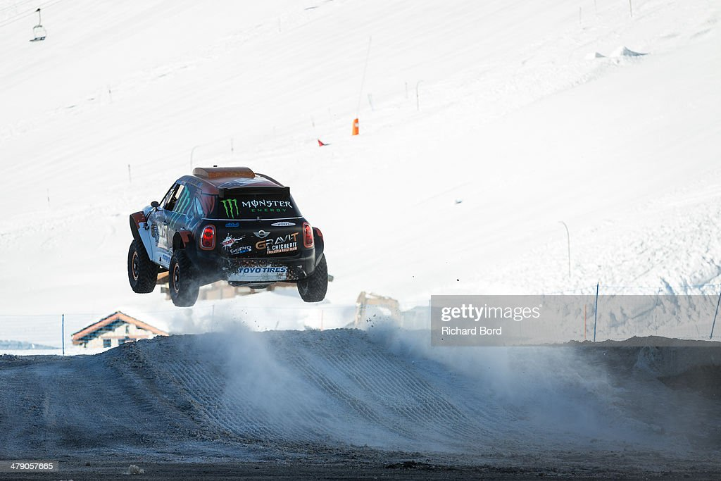 <a gi-track='captionPersonalityLinkClicked' href=/galleries/search?phrase=Guerlain+Chicherit&family=editorial&specificpeople=2093824 ng-click='$event.stopPropagation()'>Guerlain Chicherit</a> drives his car on the snow track for a test during the trainings before his World Record Longest Car Jump attempt on March 14, 2014 in Tignes, France.